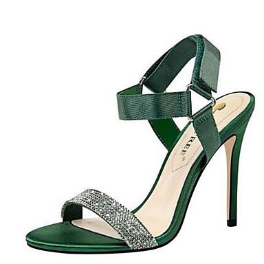 Femme Strass Polyuréthane Basique été Vert Chaussures Soirée Sandales Satin Talon amp; Gris Printemps Bout Aiguille Rouge Evénement Escarpin 06791301 ouvert B7Brq