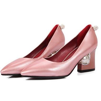 Cuadrado PU Mujer Tacones Confort Rojo Tacón Primavera Zapatos Negro 06838032 Rosa FFqr5wY