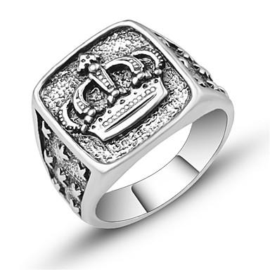 voordelige Herensieraden-Heren Ring Zegelring 1pc Zilver Legering Square Onregelmatig Vintage Europees modieus Dagelijks Festival Sieraden Sculptuur Kroon