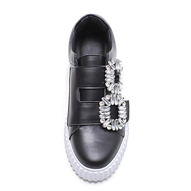 Moccasin Mocassins Eté Plat Noir Chaussons D6148 Chaussures rond Talon Femme Bout Blanc Strass 06776907 et Cuir xAfSUn