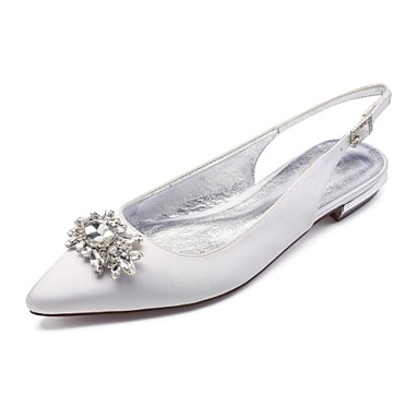 Χαμηλού Κόστους Πρώτα στις Πωλήσεις-Γυναικεία Γαμήλια παπούτσια Επίπεδο Τακούνι Μυτερή Μύτη Τεχνητό διαμάντι / Αστραφτερό Γκλίτερ Σατέν Ανατομικό / Λουράκι στη Φτέρνα Ανοιξη καλοκαίρι Μπλε / Ανοικτό Καφέ / Κρύσταλλο / Γάμου