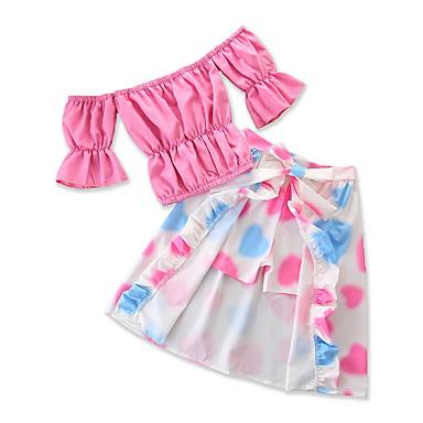 Dijete Djevojčice Cvjetni print / Print Rukava do lakta Komplet odjeće