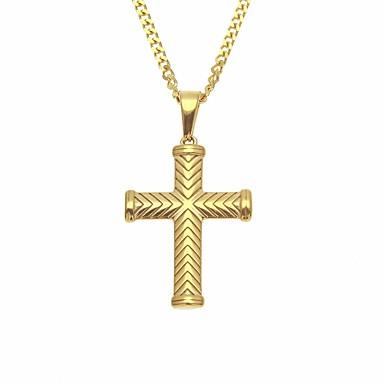 Herr Kubansk länk Hänge Halsband   Kedje Halsband - Rostfritt stål Kors  Stilig 10ad376ccd674