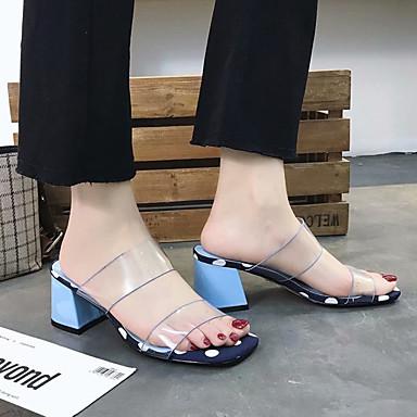 Sandalias PU Descubierto Blanco Azul Mujer Tacón 06837229 Verano Talón Zapatos Cuadrado ZqaXxg6w
