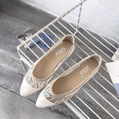 Negro Confort Verano Plano Beige Tacón 06781841 Zapatos Mujer Puntiagudo Dedo Bailarinas Gris Encaje qnUwSqfB