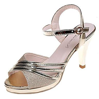 Mujer Zapatos Lentejuela 06777593 Cono Tacón Dorado Sandalias Descubierto PU Plateado Verano Talón OOqdTwr