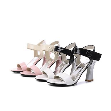 ouvert Bout Talon 06830989 A Printemps Faux Sandales Cuir Rose Arrière Chaussures Femme Blanc Bride Bobine été Ta7qggn1