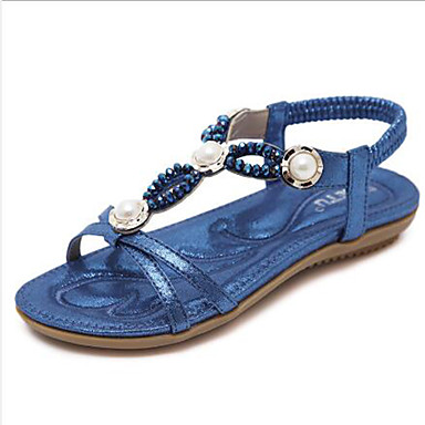 Women's Shoes PU(Polyurethane) Spring & Summer T-Strap Comfort / Comfort T-Strap Sandals Flat Heel Open Toe Rhinestone / Imitation Pearl Gold / Black / Dark Blue 35b126
