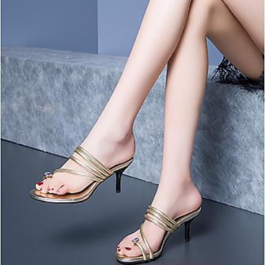 Aiguille Or Nappa Sandales Confort Chaussures Cuir Femme 06790932 Talon ouvert Bout Eté Argent nqf6xSC1O