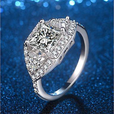 billige Motering-Dame Statement Ring Ring Micro Pave Ring 1pc Sølv Messing Platin Belagt Fuskediamant Fire tenger damer Unikt design trendy Bryllup Fest Smykker Utskjæring Elegant Radiant Cut Dyrebar Søtt