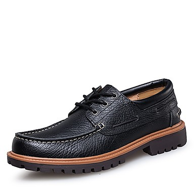 Men's Spring Comfort Shoes Nappa Leather Spring Men's Oxfords Black / Brown 107015