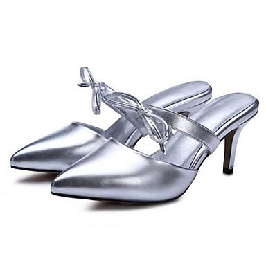 Žene Cipele Mikrovlakana Ljeto Udobne cipele Sandale Stiletto potpetica Zlato / Crn / Srebro