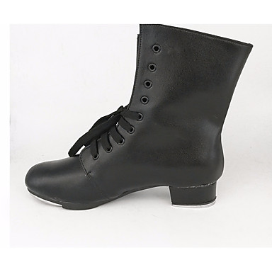 Women's Tap Shoes Cowhide Sneaker Black Thick Heel Dance Shoes Black Sneaker fce44d
