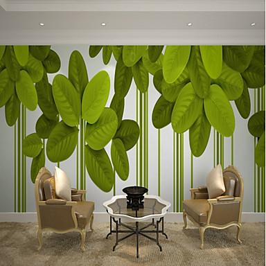 levne Tapety-bílá a zelená listová tapeta nástěnné plátno obložení