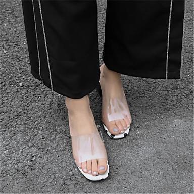 Žene Cipele Sintetika Ljeto Obične salonke Sandale Kockasta potpetica Otvoreno toe Obala / Crn