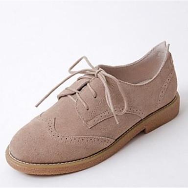 Žene Cipele Mekana koža Ljeto Udobne cipele Oksfordice Niska potpetica Zatvorena Toe Braon / Badem / Žutomrk