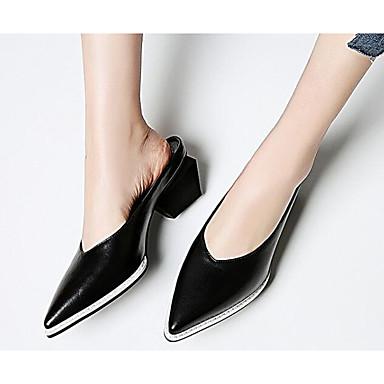 06801355 Printemps Eté Block Sabot Cuir Noir Confort Heel Chaussures Mules amp; Femme Blanc Nappa Iw6tcWOqq