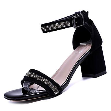 Sandalias Tacón Mujer en Zapatos Cuadrado Tira 06832784 Negro el Verano Ante Dorado Tobillo AwUqx60