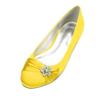 billige Toppsalg-Dame bryllup sko Flat hæl Rund Tå Rhinsten / Satengblomst / Gummi Sateng Komfort / Ballerina Vår sommer Blå / Lysebrun / Krystall / Bryllup / Fest / aften