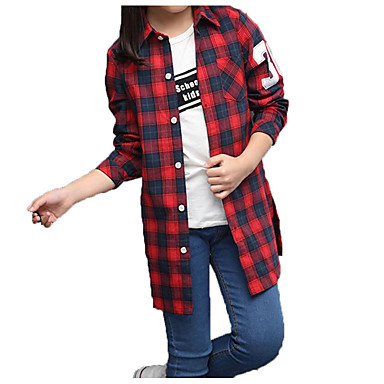 baratos Blusas para Meninas-Infantil Para Meninas Básico Moda de Rua Diário Esportes Xadrez Estampado Manga Longa Padrão Algodão Camisa Vermelho