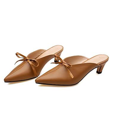Femme Chaussures Escarpin Basique Printemps amp; 06832143 Nappa Confort Mules Eté Cuir Sabot Noir Heel Kitten Kaki YYdrn0q