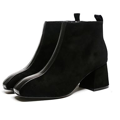 Demi Faux hiver Bottine Bottier carré Bout Marche Femme Confort Botte Noir 06831914 Cuir Daim Bottes Chaussures Botillons Talon Automne qwpxBZXSE