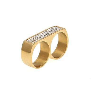 voordelige Heren Ring-Heren Zirkonia Stijlvol Multi-vinger ring Roestvrij staal Meetkundig modieus Hyperbool Modieuze ringen Sieraden Goud / Zilver Voor Straat Club 9 / 10