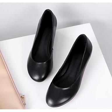 Žene Cipele Mekana koža Proljeće / Jesen Udobne cipele / Obične salonke Cipele na petu Sitna potpetica Crn