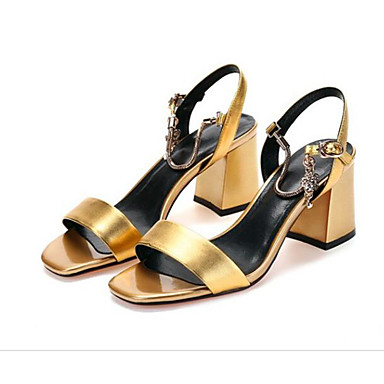 Žene Mekana koža Ljeto Udobne cipele Sandale Kockasta potpetica Zlato / Pink / Zelen