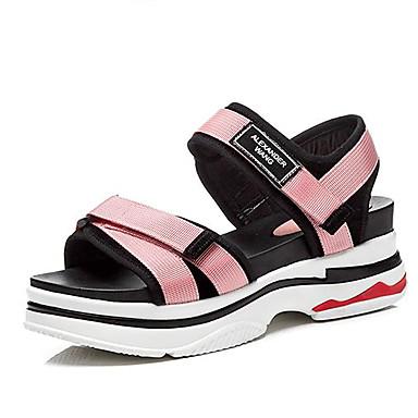 06837957 Cuir Noir Ballerines Rose Femme Confort ouvert Bout Creepers Marche Eté Chaussures qwnPna5S6