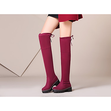 la fourrure en Mode à Noir Automne Doublure Rouge Femme Chaussures hiver Semelle 06783206 Gris rond Bottes Souple Bottes Daim Bottes Bout wS1Yv1q