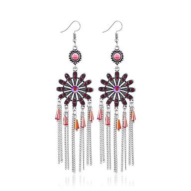 hesapli Moda Küpeler-Kadın's Kristal Damla Küpeler Bayan Sanatsal Asyalı İngiliz Renkli Küpeler Mücevher Kırmzı / Yeşil / Mavi Uyumluluk Nişan Karnaval 1 çift