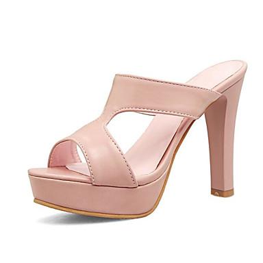 Tacón 06801298 Zapatos Sandalias Rosa Básico Pump Blanco Confort PU Cuadrado Negro Verano Mujer 0xd7q0