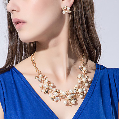 Pentru femei Perle Set bijuterii - Perle, Imitație de Perle, Ștras Floare Personalizat, European, Modă Include Auriu / Argintiu Pentru Petrecere / Zi de Naștere / Logodnă / Diamante Artificiale
