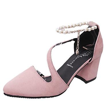 Tira Tacón Verde Perla Tacones Rosa Verano Tobillo Cuadrado de Zapatos Mujer Negro 06792005 Imitación PU el en v86twp