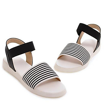 Sintéticos Zapatos Tacón Blanco Plano Sandalias Mujer Verano Confort 06833532 Negro wOqRwZx