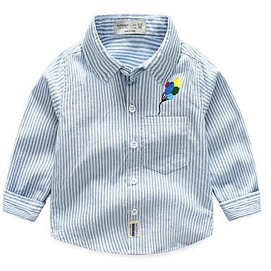 baratos Camisas para Meninos-Infantil Para Meninos Básico Diário Listrado Bordado Manga Longa Padrão Algodão Camisa Azul