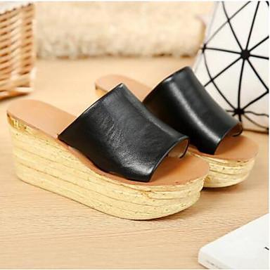 Žene Mekana koža Ljeto Udobne cipele Sandale Wedge Heel Crn