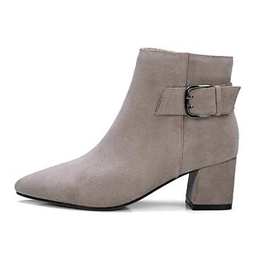 Žene Cipele Mekana koža Jesen / Zima Udobne cipele / Modne čizme Čizme Kockasta potpetica Crn / Svjetlo siva / Tamno smeđa