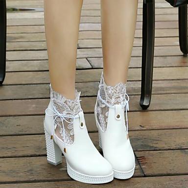 Blanc Soirée Printemps Evénement Femme Block rond Noir Bottine Demi Heel amp; Botillons Automne 06840013 Chaussures Bottes Botte Polyuréthane amp; Bout wwq16a