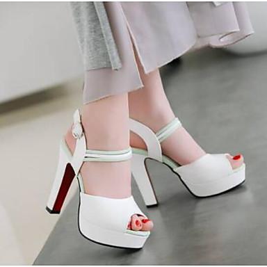 Zapatos Primavera Cuadrado Confort 06778412 Sandalias Mujer Negro PU Rosa Blanco Tacón dqOUwF