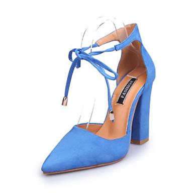 les chaussures en daim printemps et été été été d'orsay & deux morceau talons chunky talon orteil ruban bleu, cravate rose / / bourgogne / partie & soir e5e572