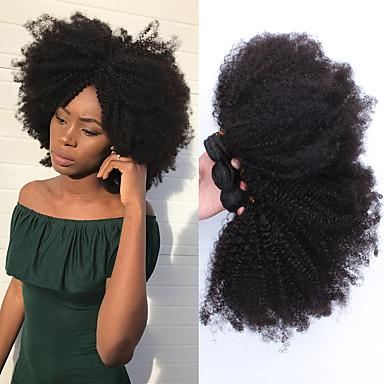 baratos Extensões de Cabelo Natural-3 pacotes Cabelo Mongol Afro Kinky 8A Cabelo Humano Um Pacote de Solução Tecer 10-26 polegada Tramas de cabelo humano Extensões de cabelo humano Todos
