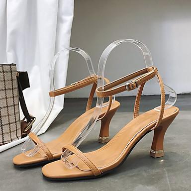 06776542 PU Tira Zapatos Verano Mujer Tobillo el Caqui Negro Carrete Tacón en Sandalias 7SqUw5w