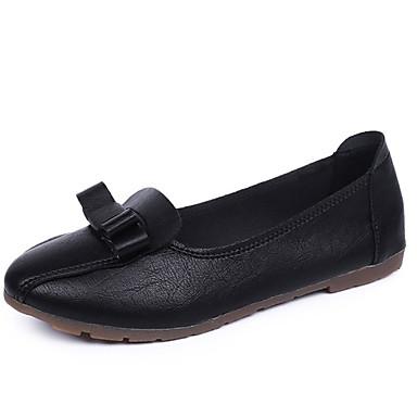 Žene PU Ljeto Udobne cipele Ravne cipele Ravna potpetica Okrugli Toe Mašnica Obala / Crn