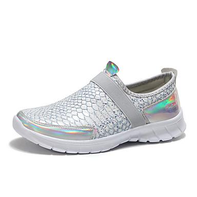 Kadın's Spor Ayakkabısı Düz Taban Yuvarlak Uçlu PU Günlük İlkbahar yaz Siyah / Gümüş