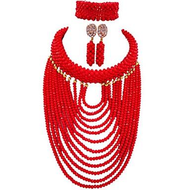 baratos Bijuteria de Mulher-Mulheres Strands Necklace Multi Camadas MOON senhoras Fashion africano Cristal Austríaco Brincos Jóias Azul / Rosa / Champanhe Para Festa Diário