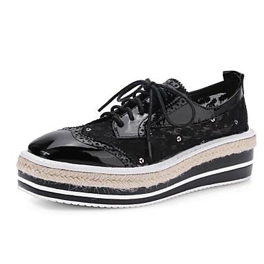 Confort Chaussures Printemps Nappa Creepers Noir Femme Jaune Automne 06827496 Cuir Oxfords wxp1qqnSX
