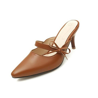 Žene Mekana koža Ljeto Udobne cipele Klompe i natikače Stiletto potpetica Krakova Toe Crn / Bež / Braon