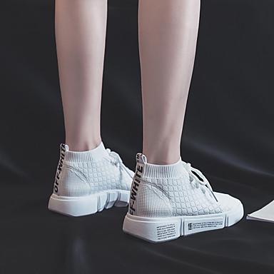 Eté Plat Pied Talon Femme d'Athlétisme Confort Bout Chaussures Coton rond 06833416 Blanc Marche Noir Maille à Chaussures Course qqzAUt